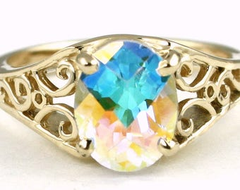 Mercury Mist Topaz, 14KY Gold Ring, R005