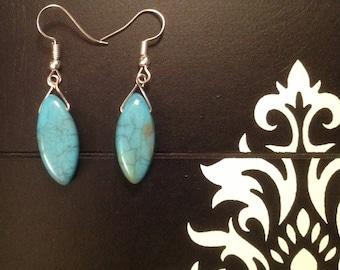 Fancy turquoise and silver Earrings is hand pierced DIY earrings