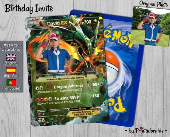 Pokémon Card Dragon, Pokemon Invitation Rayquaza, Pokemon Birthday Invite, Pokemon Party, Pokemon GO - Digital or Printed File