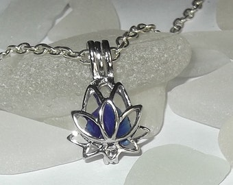Lotus flower locket with blue sea glass. Beach glass locket - Sea glass Jewel