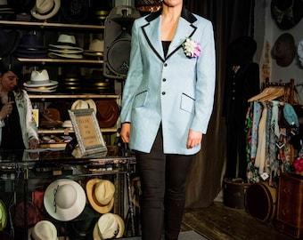 After Six powder blue tux jacket brocade