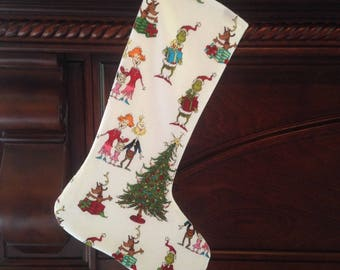 Dr. Seuss Christmas Stocking, Cotton Christmas Stocking, Whoville, How The Grinch Stole Christmas, Grinch, Cindy Lou Who, Sam I Am, Santa