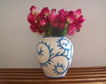 Vintage Blue and White Jar, Urn, Vase, Handpainted