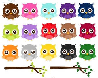 Rainbow Owls Clipart Set - owls and branches, rainbow, cute owls, clip art set - personal use, small commercial use, instant download