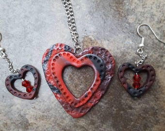 Red Velvet crystal Valentine Jewelry set