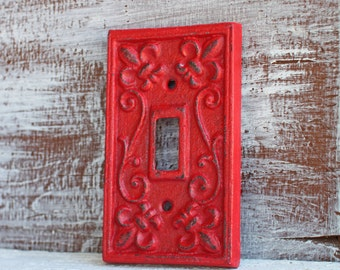 Light Switch Cover, Switchplates, Single Red Switchplate Cover, Switch Plate Cover Cast Iron Red Wall Decor, Wall Accent Rustic Home Decor