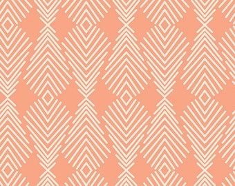 Plumage in Apricot - Winged by Bonnie Christie - Art Gallery Fabric Quilting Cotton 1/2 Yard+