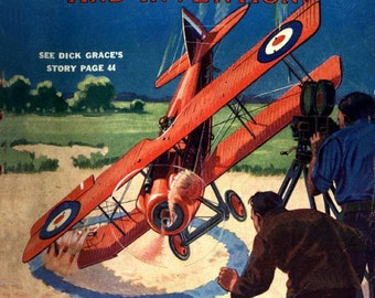 Crashing planes for the movies. Vintage science magazine cover 1930