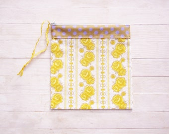 Cosmetic bag make-up pouch pencils case carry-all zipper pouch wallet purse vintage yellow roses white brown lilac dotted gift for her