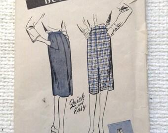 Vintage 40's Woman's Skirt sewing pattern.  Butterick.  Waist Size 30.   No. 3166.