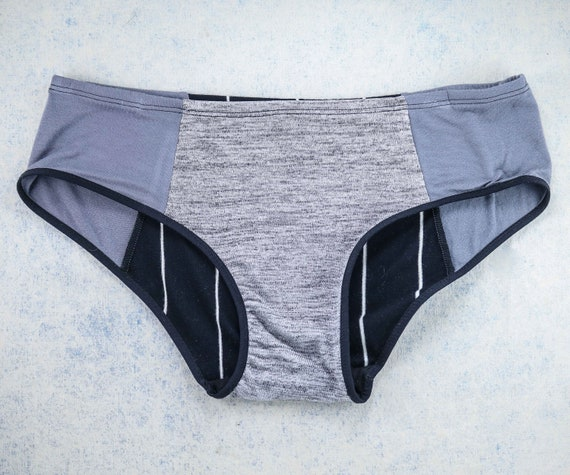 LARGE - LOLA WideHipster cut, unique, upcycle and handmade panties hand dyied