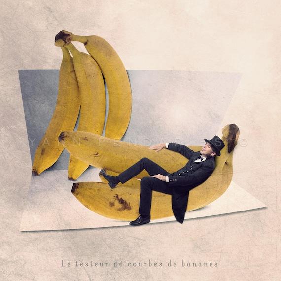 Banana photo print, Kitchen Art, Kitchen Decor, Food Photography, Tiny trades series, funny kitchen art, Steampunk fruit print