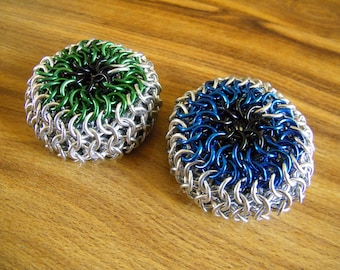 Eyeball Chainmaille Footbag in Your Choice of Green and Blue