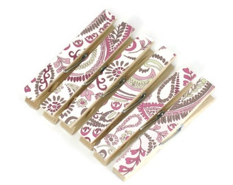 Altered Clothespin  Clips  Decorative  Wooden Clothespins in Pink Paisley