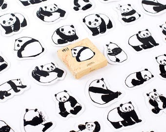 45 PCS, Panda stickers, Bear sticker, Panda sticker, Teddy Bear sticker, Lifelog, Animal sticker, Pandas 27