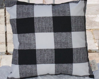 Black and White Buffalo Plaid Pillow COVER ONLY.