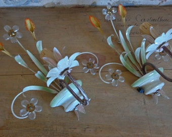 French painted tole wall lights