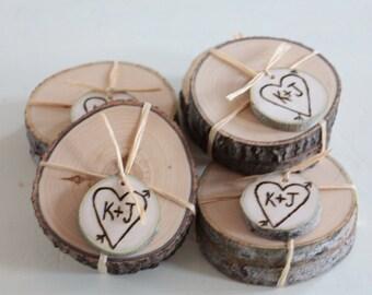 Cadeaux de mariage personnalisés paire de frêne ou bouleau Coasters - 25 paires - boisé rustique élégant