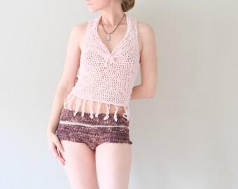 Beach Bikini Shorts Panty / Rustic Chunky Cotton Knit Boy Shorts / Very Lowcut, Low-rise Hipster Shorts In Brown