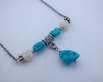 Blue and White Turquoise Bar Necklace