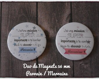 """Duo of magnets / fridge magnets - request sponsor """"will you be my godfather / godmother""""-christening"""
