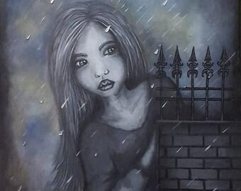 Original acrylic painting on canvas, with mirror, child, girl, dark, rain,