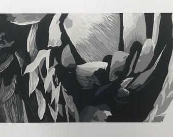 Pangolin Woodblock Print
