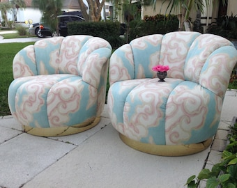Luxe CHANNEL BACK SLIPPER CHAIRs with Brass Base /Pair of Brass Base Slipper Chairs A. Rudin Style /Mid Century Modern at Retro Daisy Girl