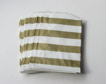 "NEW - Set of 20 METALLIC GOLD and White Horizontal Stripe Bitty Bags (2.75"" x 4"")"