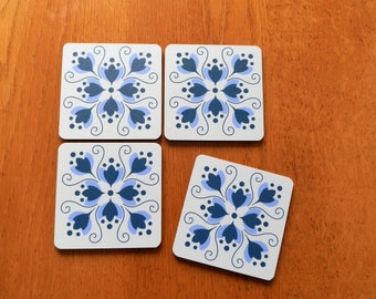 "Pretty ""Tile Style"" Cork Backed Set of 4 Coasters"