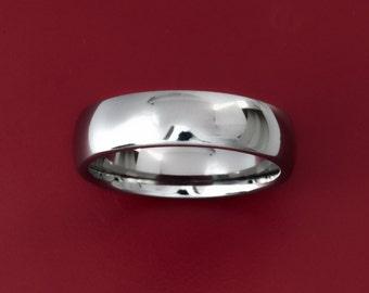 Titanium Round, Brilliant Finish Men's Wedding Band- 6MM Dome