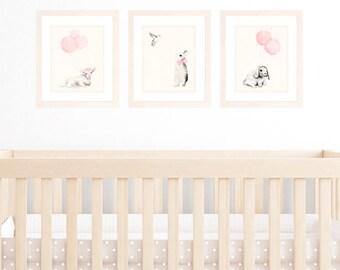 Baby Girl Nursery Decor, Set of 3 8x10 / A4 Art Prints, Light Pink Shabby Chic Decor Wall art, Animal Watercolour Illustrations