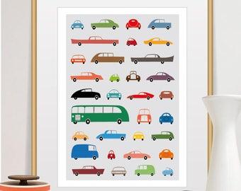 nursery poster, car poster, car print, nursery decor, vintage car poster, art classic cars, vintage cars, cars, vintage, boys room decor