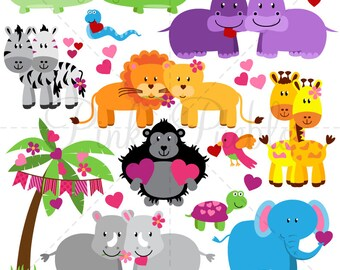 Valentine's Day Animals Clipart Clip Art, Valentine Zoo Safari Jungle Wild Animals Clipart Clip Art Vectors - Commercial and Personal Use