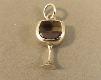 Sterling Silver Glass of RED WINE Charm with CZ stone Pendant Drink Kitchen .925 Sterling Silver New kt63