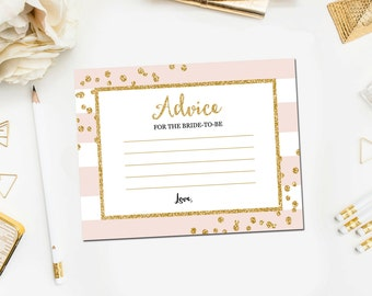 Bridal Shower Advice for Bride Cards Pink and Gold , Bridal Shower Games, Gold Glitter Confetti Blush Pink, Printable Instant Download BR12
