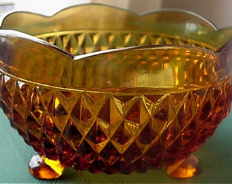 Indiana Glass Diamond Point Footed Bowls, 3 Colors