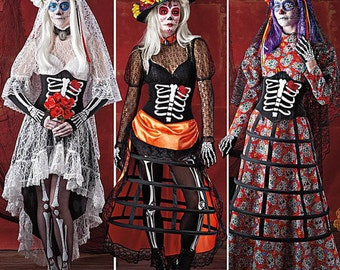 Simplicity Sewing Pattern 1033 Day of Dead Goth Corpse Bride Costume Size 6-14 UNCUT