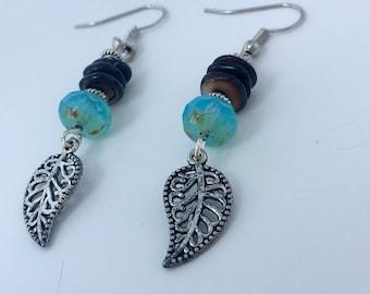 Leaf Charm Dangling Earrings