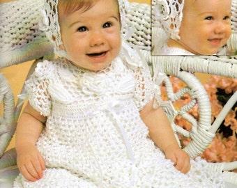 Baby Crochet Pattern, Baby Christening Dress Crochet Pattern, Crochet Newborn Baby Dress & Bonnet, INSTANT Download Pattern PDF (1343)