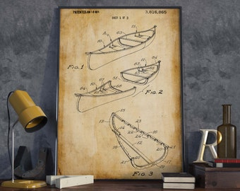 Canoe Patent Poster| Gift for Seaman| Nautical Decor| Sailing Art| Boat Wall Poster| Extreme Sport Art| HPH283