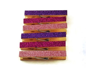 Glittered Clothespin Magnets in Purple Passion