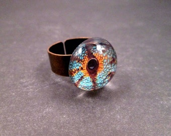 Eye See You, Serpent's Eye Ring, Blue Orange Brown, Adjustable Copper Ring, Free Shipping U.S.