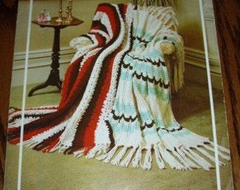 vintage crochet knit patterns ... Bouquet BULKY AFGHANS leaflet patterns ...