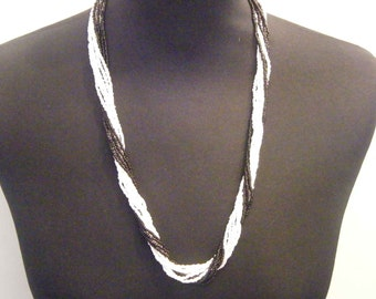 Medium Zulu Natural Beads Fair Trade Necklace Can Be Twisted Black and White Multistrand African Style
