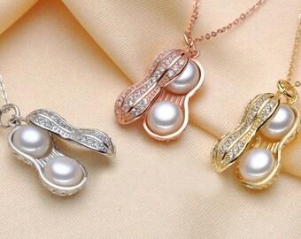 White pearl pendant, freshwater pearl s925 sterling silver pendant,peanut pearl necklace,L-BM-0537