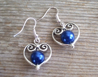 Filigree Silver Heart Earrings, Bridal Earrings, Dark Blue Pearl Bead Hearts, Bridal Jewelry, Silver and Blue Earrings, Heart Jewelry
