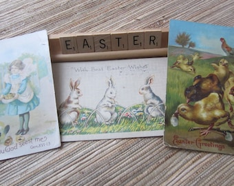 "Three Vintage Easter Postcards/ Antique Used Postcards/ Spring/ Bunny Postcards/ Chicks Postcards/ Collectibles/Easter ""Sign""/Ephemera"