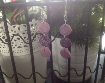Pink and purple prints 3 discs earrings silver