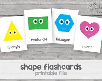 Printable kid's shape flashcards, english
